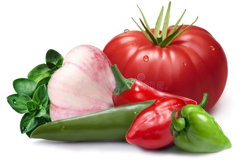 Knoflook, habaneros, chil, tomatoi als ontwerpelement royalty-vrije stock foto's