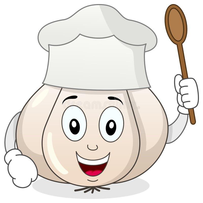 Knoflook met Chef-kok Hat Cartoon Character royalty-vrije illustratie