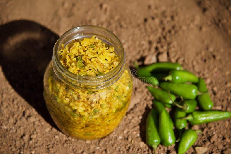 Knoflook, Radijs en Spaanse pepersgroenten in het zuur royalty-vrije stock afbeeldingen