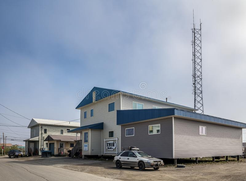 KNOM Nome. NOME, ALASKA - JUNE 10: KNOM the oldest Catholic public radio station in North America on both AM and FM as seen on June 10 2019 in Nome Alaska royalty free stock photos