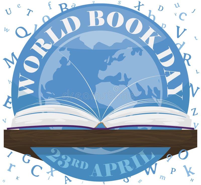 Knoop, Brieven en Open Boek om de Dag van het Wereldboek, Vectorillustratie te vieren royalty-vrije illustratie