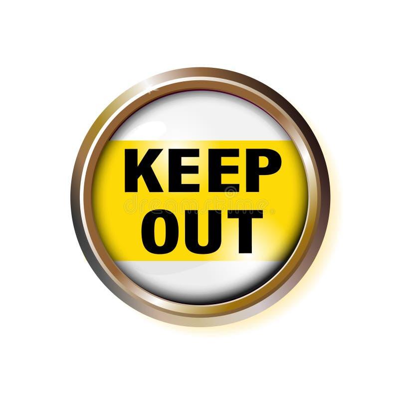 Knoop met het uit inschrijving-levensonderhoud, met een verdenking van gevaar Voorzichtigheidstekst in gouden kader Vectorillustr stock illustratie