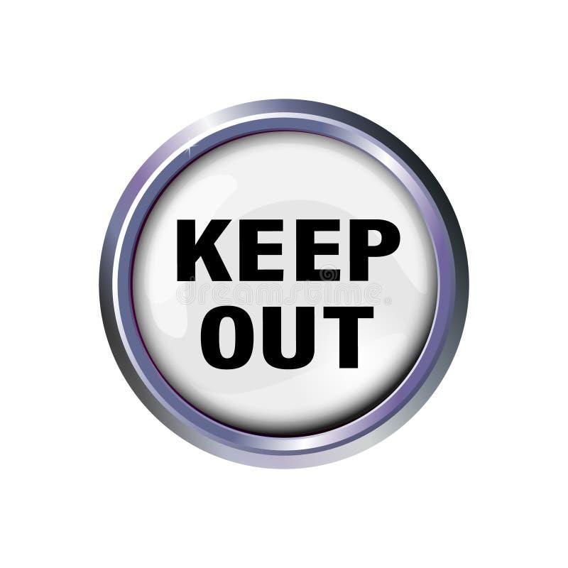 Knoop met het uit inschrijving-levensonderhoud, met een verdenking van gevaar Voorzichtigheidstekst in zilveren kader Vector illu stock illustratie