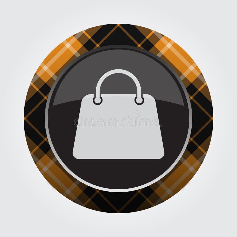 Knoop met oranje, zwart geruit Schots wollen stof - handtaspictogram royalty-vrije illustratie