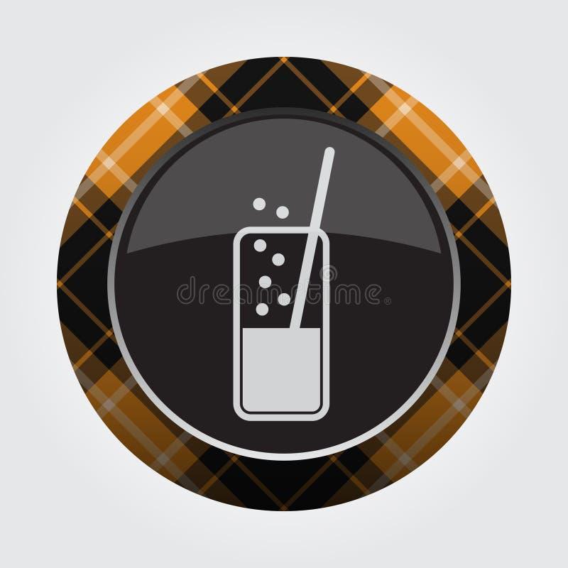 Knoop oranje, zwart geruit Schots wollen stof - sprankelende drank stock illustratie
