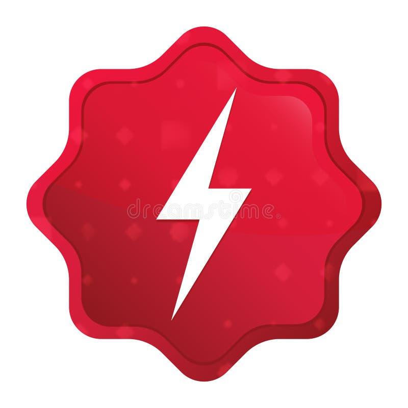 Knoop van de starburststicker van het elektriciteitspictogram de nevelige rozerode stock illustratie