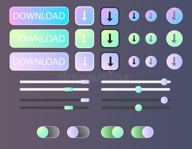 Knoopt ui de interface van het pakontwerp dicht stock illustratie