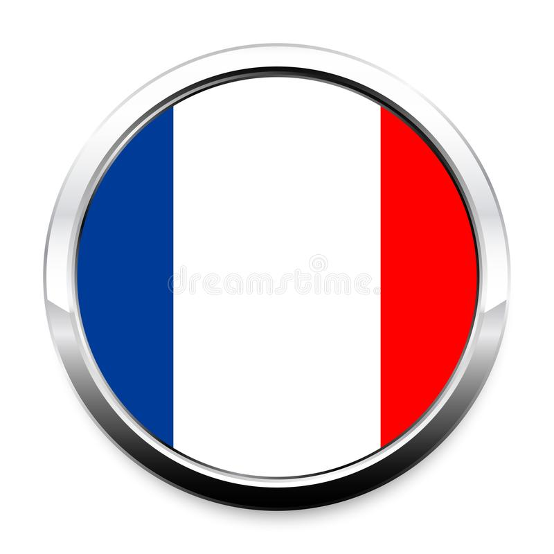 Knoopvlag van Frankrijk in een rond kader van het metaalchroom vector illustratie