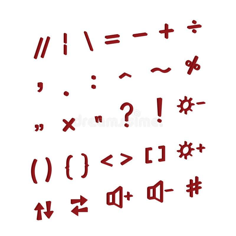 Knopen voor een computer of telefoontoetsenbord Isometrische pictogrammen Vector, 3d modelleringspictogrammen vector illustratie
