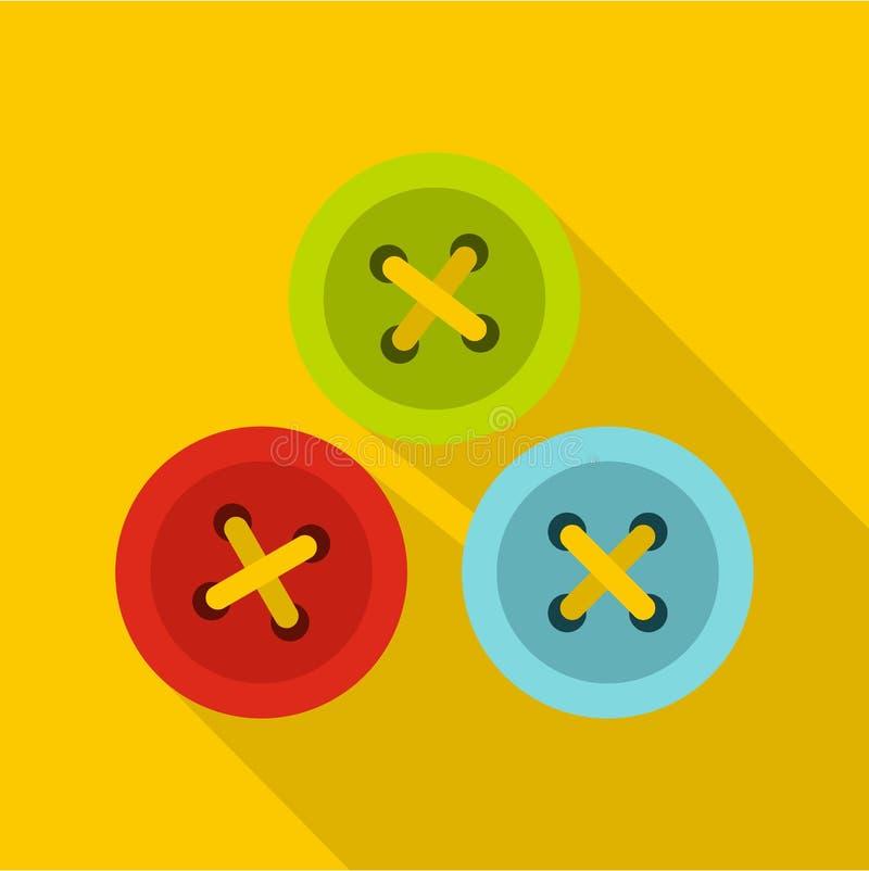 Knopen voor het naaien van pictogram, vlakke stijl vector illustratie