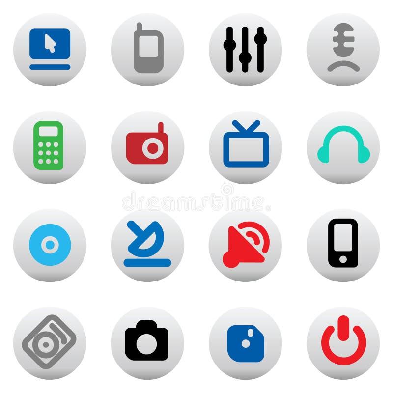 Knopen voor media apparaten stock illustratie