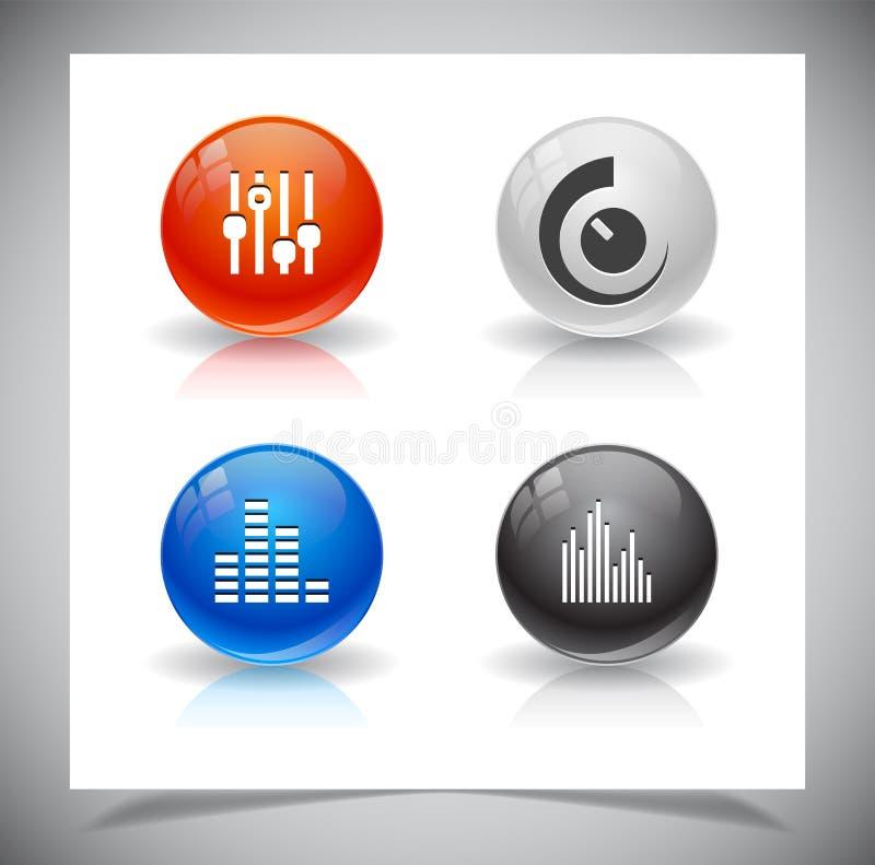 Download Knopen voor Web. vector illustratie. Illustratie bestaande uit audio - 39106782
