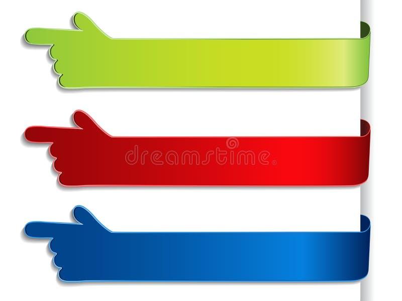 knopen voor website of app Groen, rood en blauw etiket met gebaarhand Het mogelijke gebruik voor tekst koopt nu, omhoog intekent, royalty-vrije illustratie