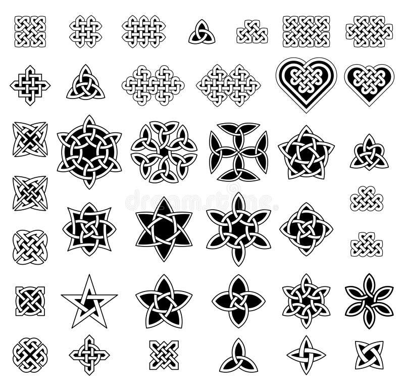 39 knopeninzameling in Keltische stijl, vectorillustratie stock illustratie