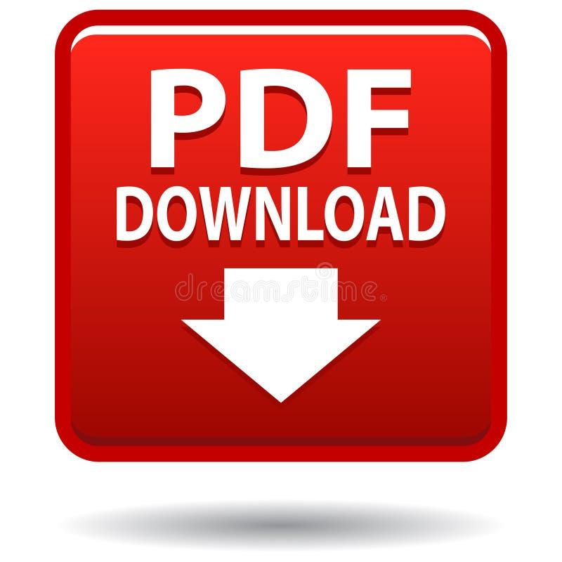 Knopf des roten Quadrats der pdf-Netzikone stock abbildung