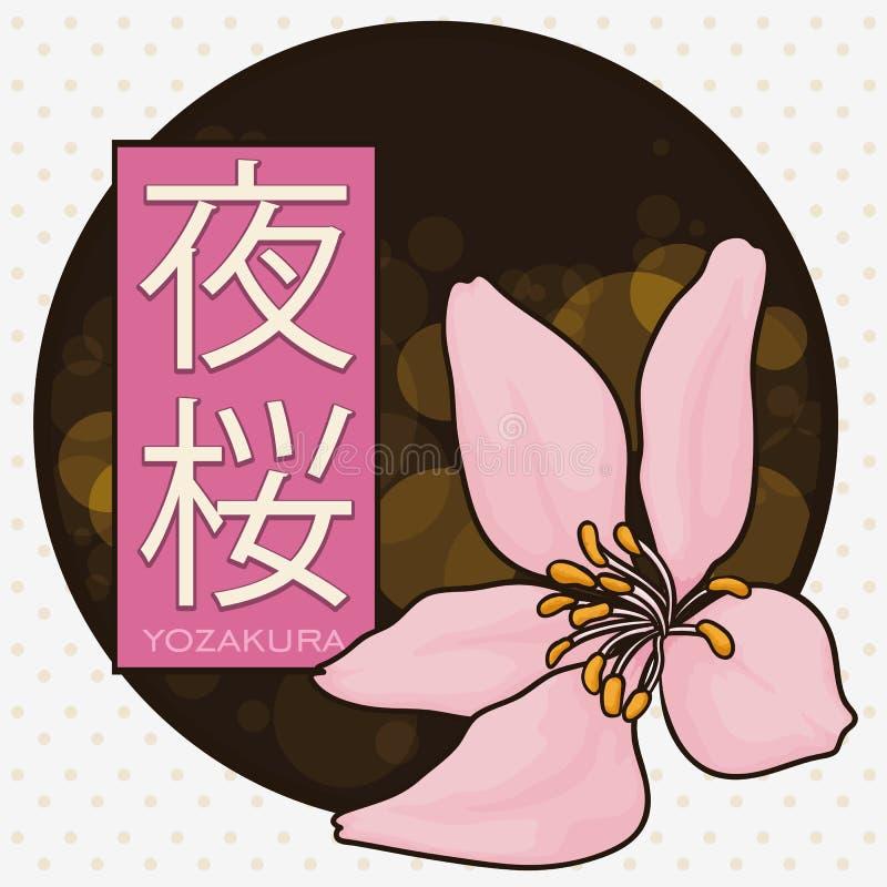 Knopf für mit Cherry Blossom für Yozakura oder nächtliches Hanami, Vektor-Illustration vektor abbildung
