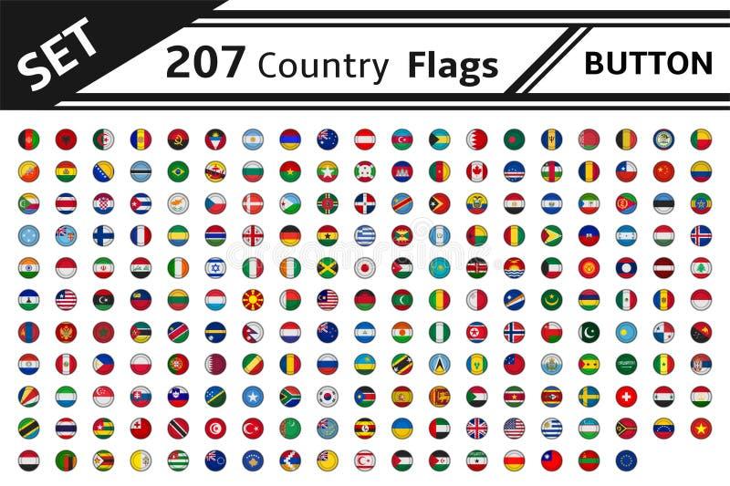 Knopf mit 207 Landesflaggen vektor abbildung