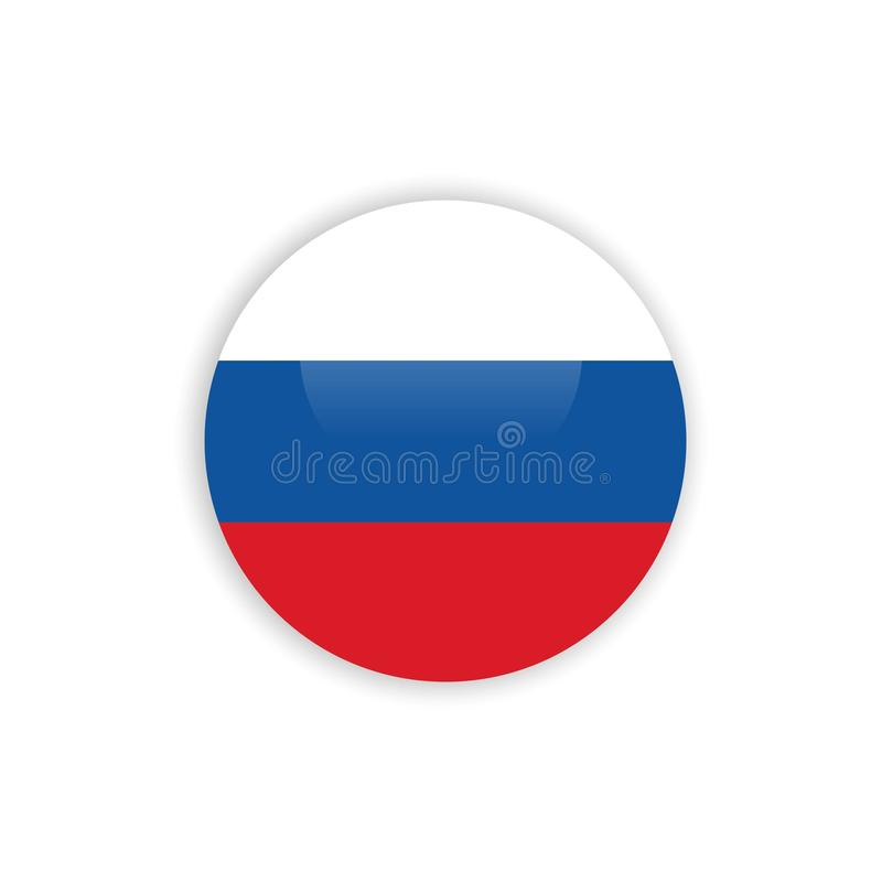 Knopf-Russland-Flaggen-Vektor-Schablonen-Entwurf lizenzfreie abbildung