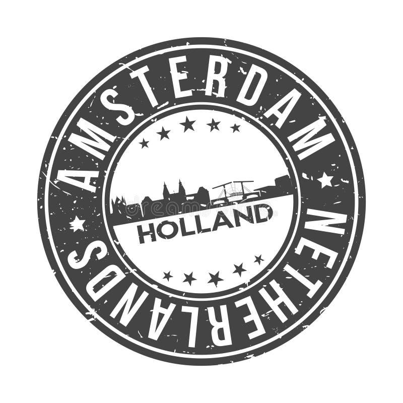 Knopf-Stadt-Skyline-Entwurfs-Stempel-Vektor-Reise-Tourismus Amsterdams die Niederlande Europa um vektor abbildung