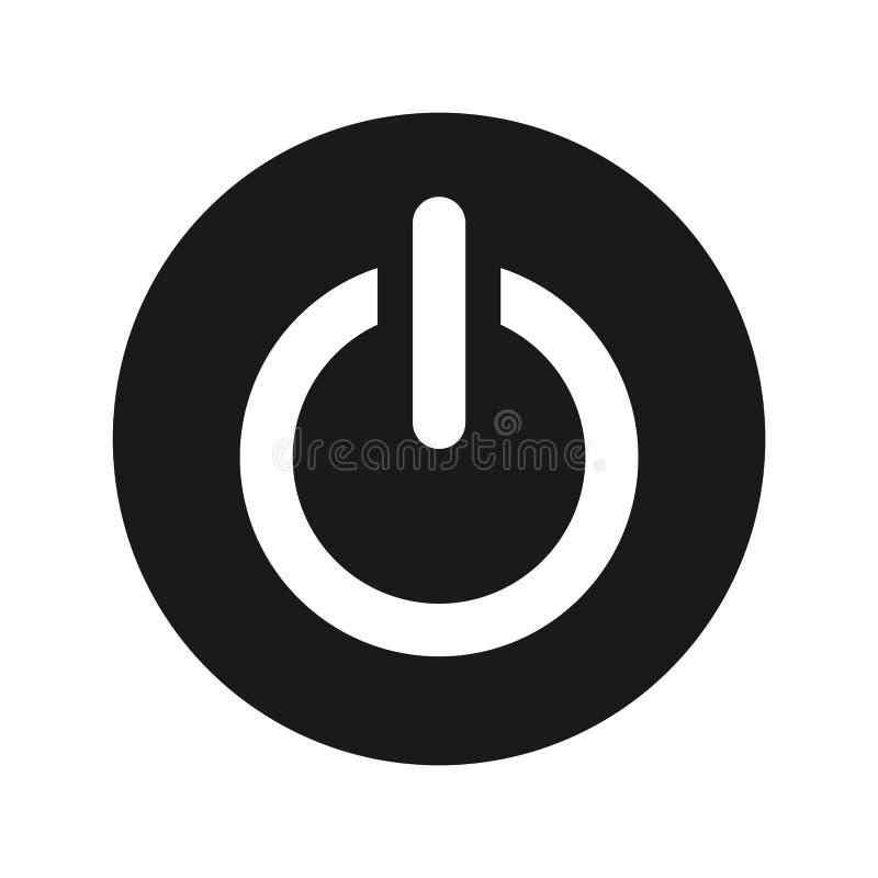 Knopf-Vektorillustration der Energieikone mattschwarze runde stock abbildung
