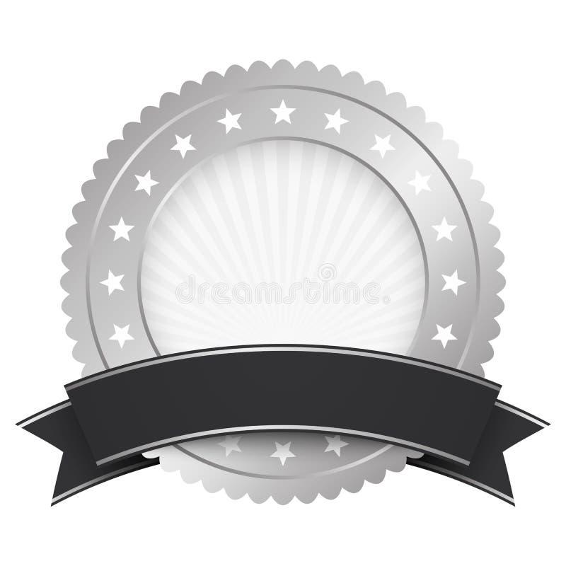 Knopfschablonensilber mit schwarzer Fahne lizenzfreie abbildung