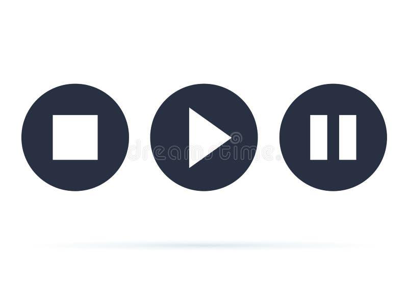 Knopfspielerikone Endspiel- und -pausenknöpfe für Webdesign Video-Player in einer flachen Art Rand der Farbband-, Lorbeer- und Ei lizenzfreie abbildung