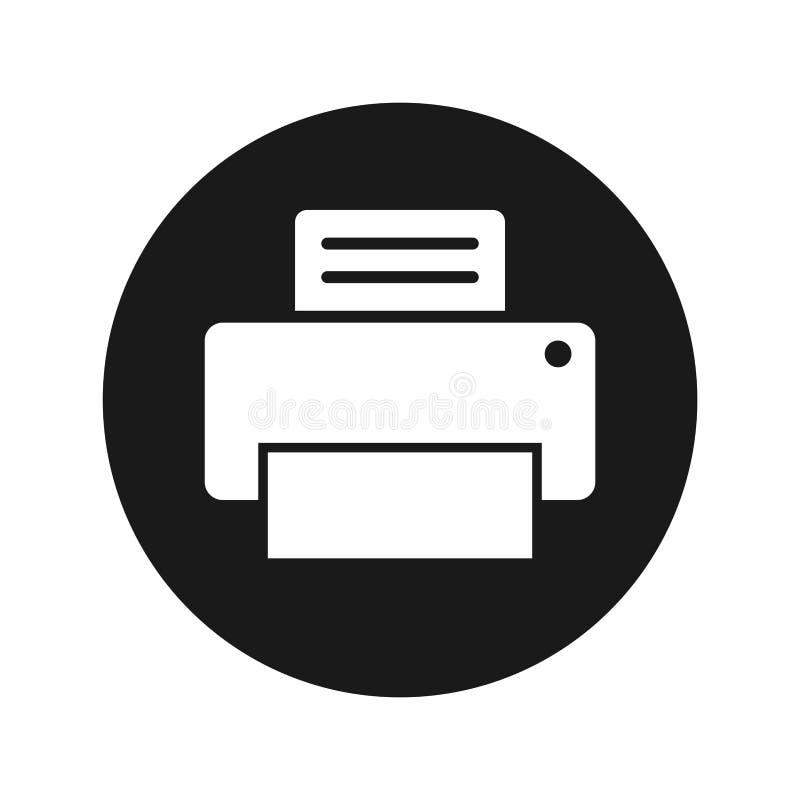 Knopfvektorillustration der Druckerikone mattschwarze runde lizenzfreie abbildung