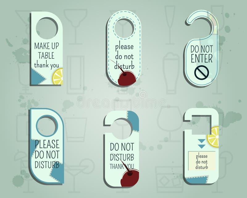 Knopp för dörr för märkesidentitetselement eller hängaretecken vektor illustrationer