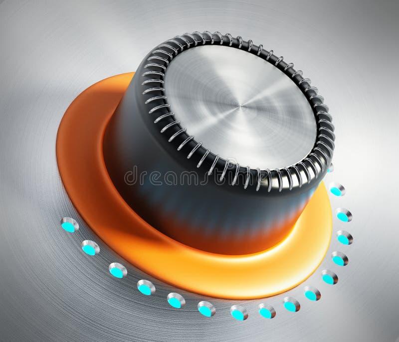 Knopp för kontroll för metall för tappningstil orange illustration 3d stock illustrationer