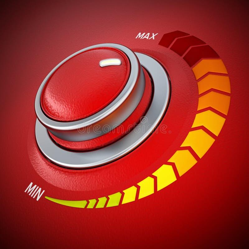Knopp för kontroll för metall för tappningstil röd illustration 3d vektor illustrationer