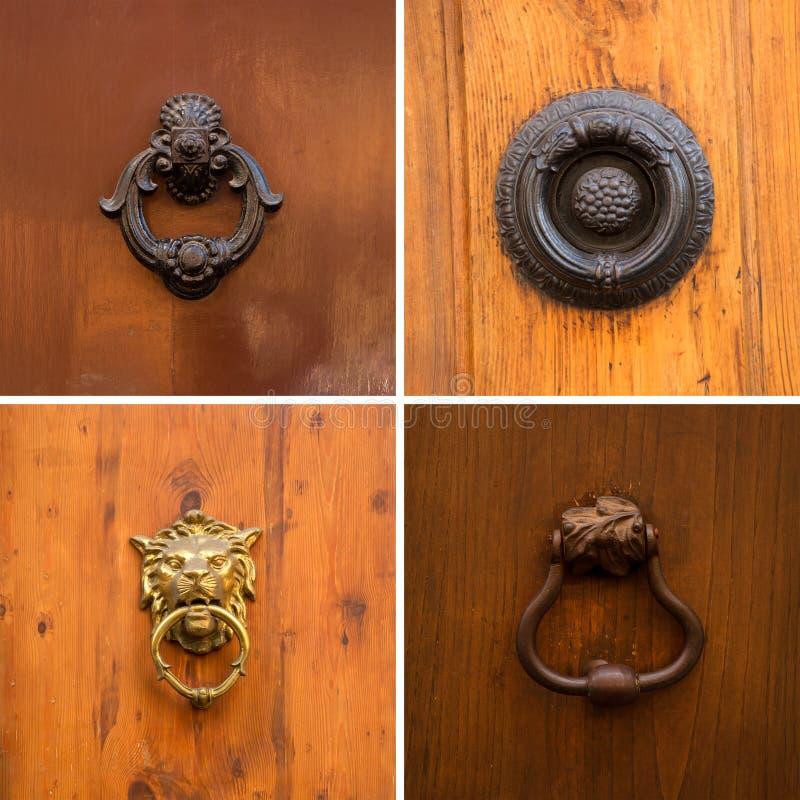 Knoppen en handvatten op houten deurcollage stock foto
