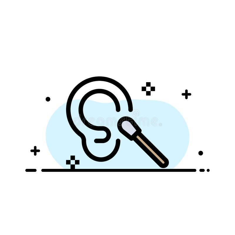 Knoppen, Oor, het Schoonmaken, het Schone Malplaatje van de Bedrijfs Vlakke Lijn Gevulde Pictogram Vectorbanner vector illustratie