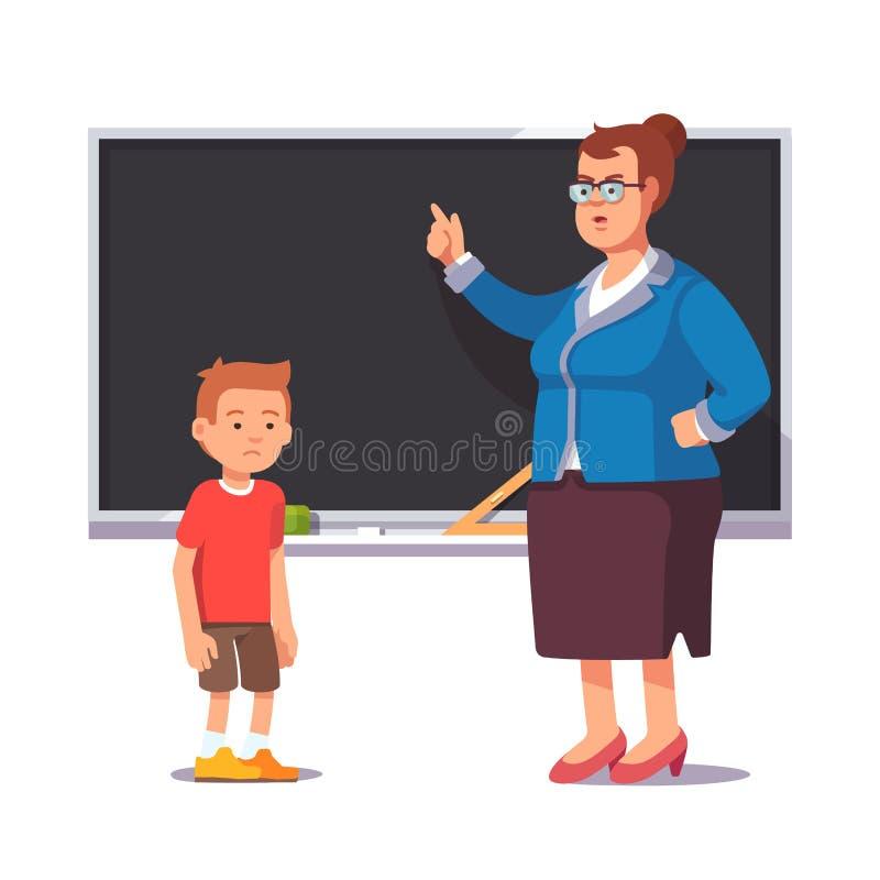 Knorrige schoolleraar en droevige, slechte leerlingsjongen vector illustratie
