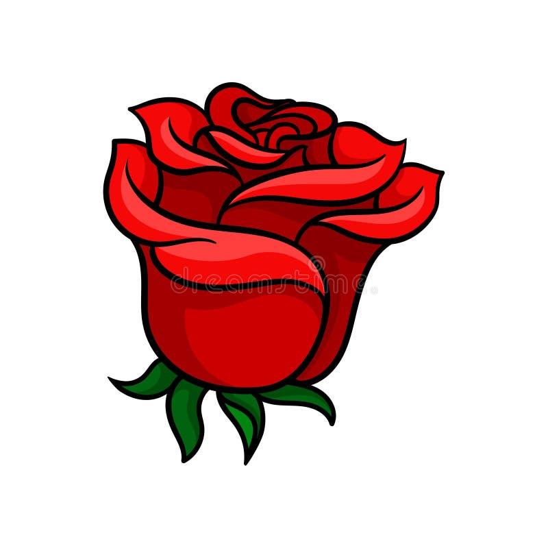 Knospe der blutig-roten Rose Herrliche Gartenblume Tätowierungsgrafik Bäume, die vom See-Wasser wachsen Vektor für Plakat, Grußka stock abbildung