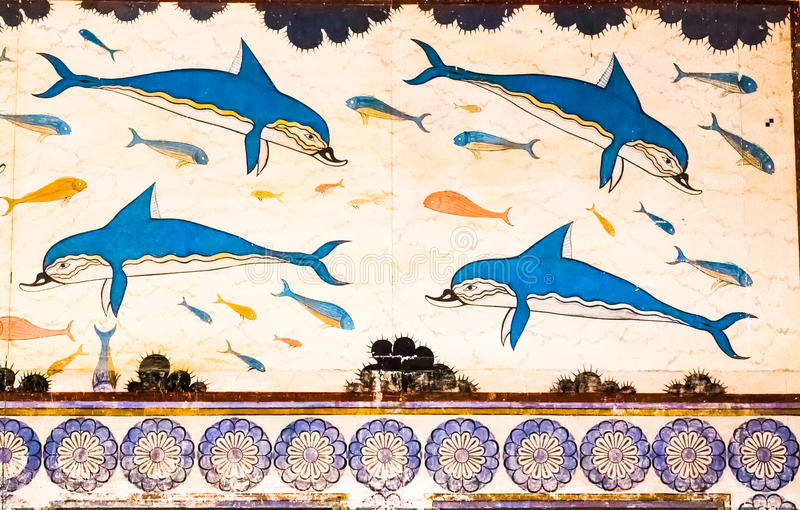 Knossos Dolphins royalty free stock photos