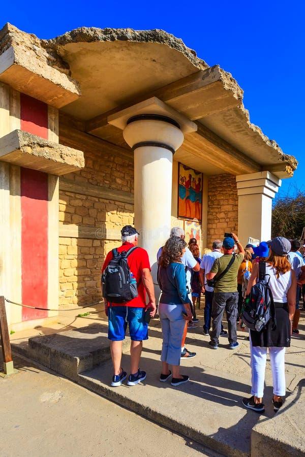 Knossos Kreta f?rd?rvar av den Minoan slotten, Grekland royaltyfri bild