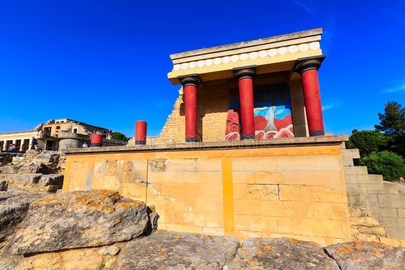Knossos Kreta f?rd?rvar av den Minoan slotten, Grekland royaltyfria foton