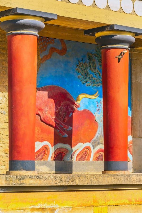 Knossos Kreta f?rd?rvar av den Minoan slotten, Grekland royaltyfria bilder