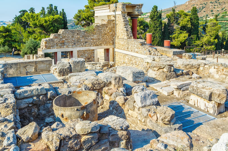 Knossos palace at Crete, Greece Knossos Palace, is largest Bronze Age archaeological site on Crete and the ceremonial royalty free stock photography