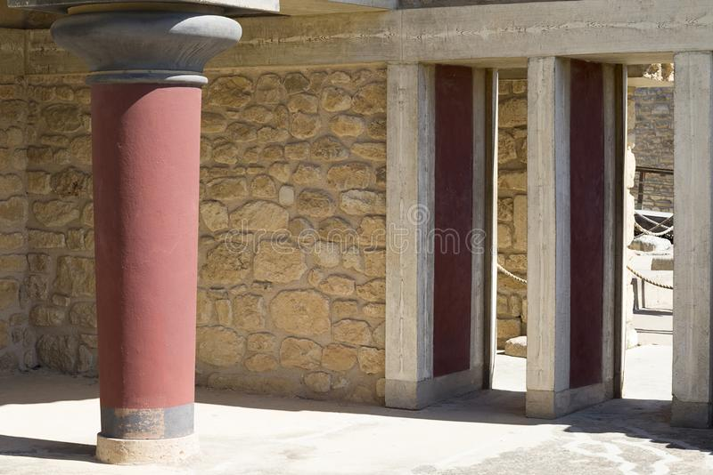 Knossos palace at Crete, Greece Knossos Palace, is the largest Bronze Age archaeological site on Crete and the ceremonial and poli stock photo