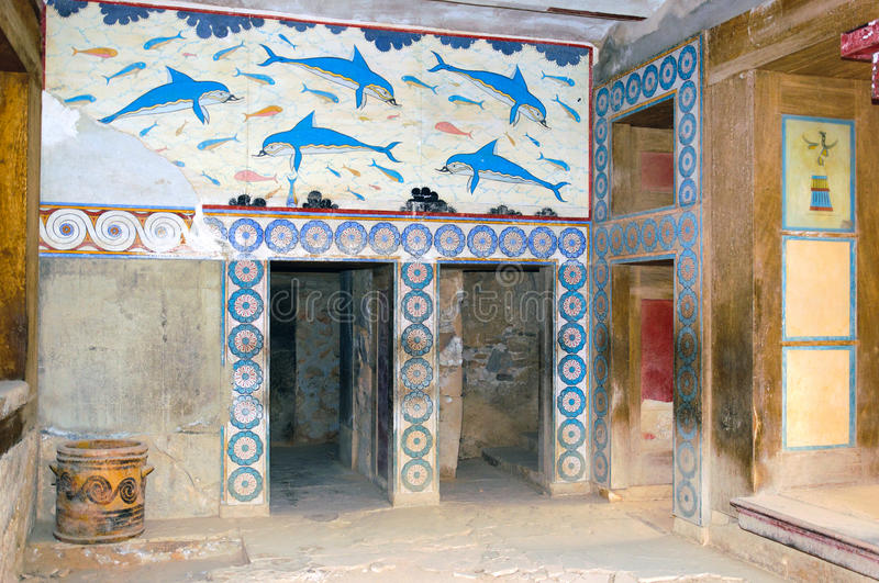 Knossos palace interiors stock images