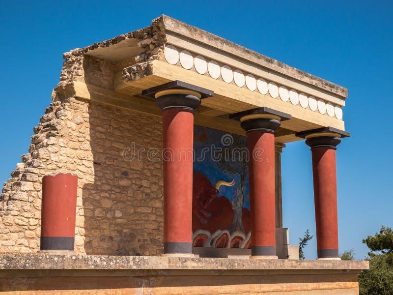 Knossos Palace Crete Greece. The restored north entrance to the Minoan Palace at Knossos. Crete, Greece stock photos