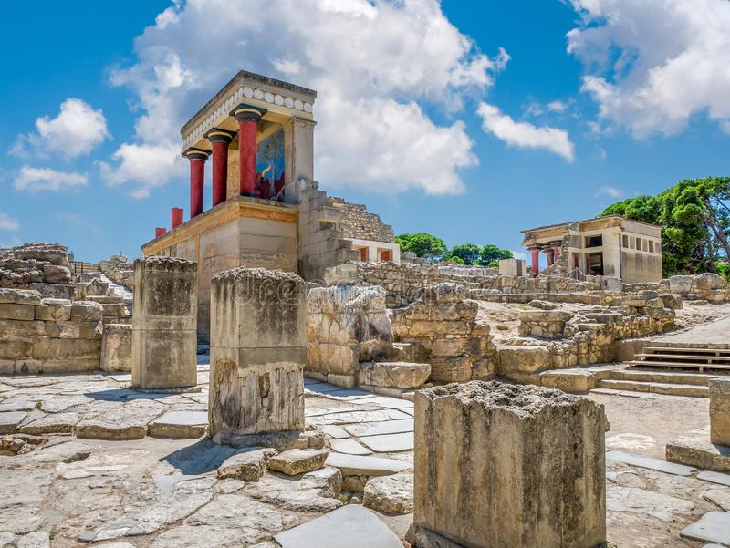 Knossos palace ruins at Crete island, Greece. Famous Minoan palace of Knossos stock photos