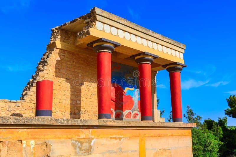 Knossos, ruinas de Creta del palacio de Minoan, Grecia fotos de archivo