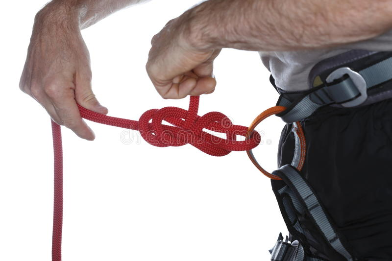 Knot on climbing harness royalty free stock photo