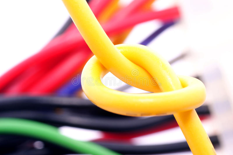Knot in the electrical wire stock image