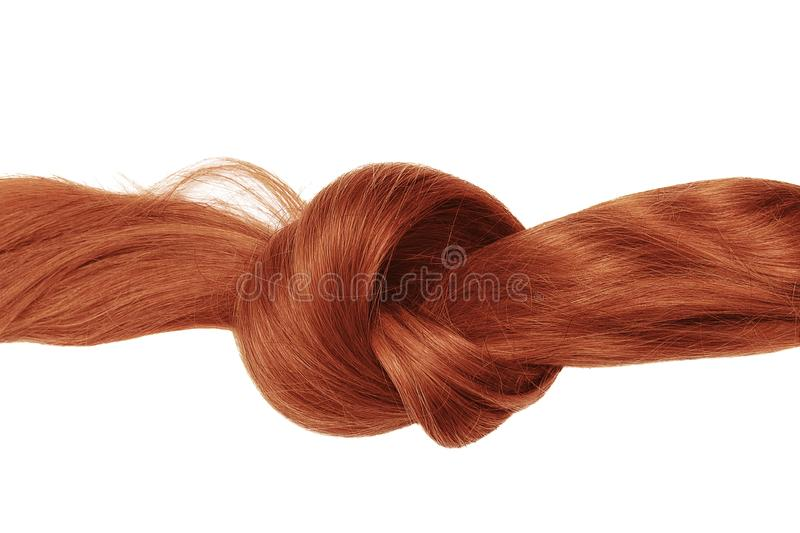 Knot of red hair, isolated on white. Natural healthy hair isolated on white background. Detailed clipart for your collages and illustrations stock photos