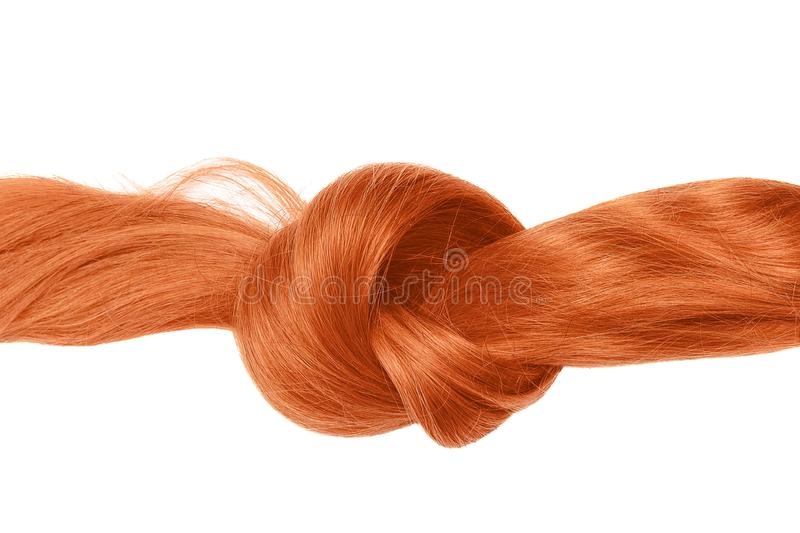Knot of red hair, isolated on white. Natural healthy hair isolated on white background. Detailed clipart for your collages and illustrations stock images