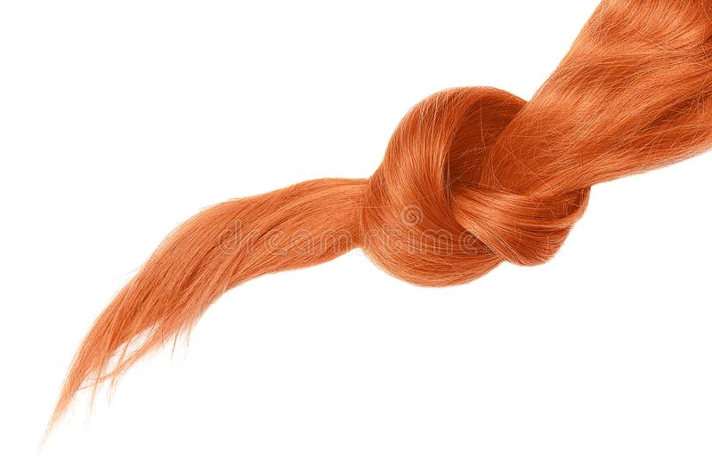 Knot of red hair, isolated on white. Natural healthy hair isolated on white background. Detailed clipart for your collages and illustrations royalty free stock images