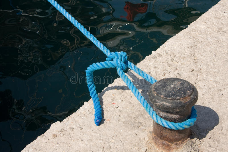 Knot On Rope In Dock Stock Photos